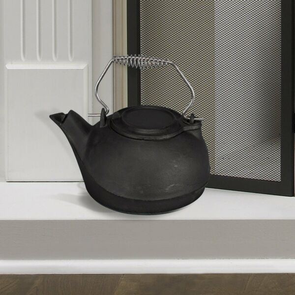 Fireplace Kettle Humidifier Pot Steamer Cast Iron 3 Quart Black Wood Stove Steam