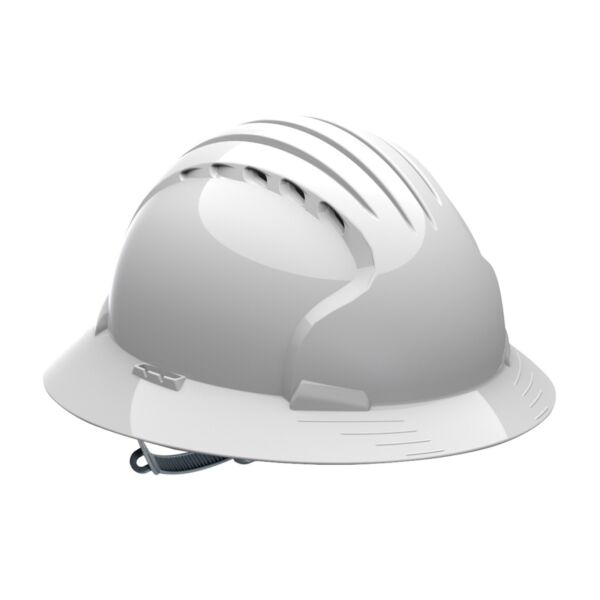 JSP Vented Full Brim Hard Hat with 6 Point Slip Ratchet Suspension, White