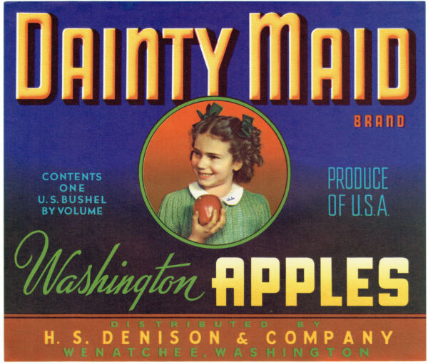 Wholesale Lot of (62) DAINTY MAID Brand Washington Apples Crate Labels Wenatchee