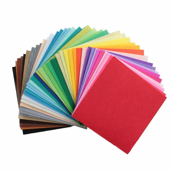 Life Glow DIY Polyester Stiff Felt Fabric Squares Sheets Assorted Colors 12x12