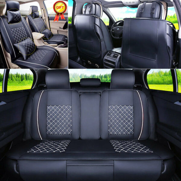US Car 5-Seats Seat Cover PU Leather Front & Rear W/Neck Lumbar Pillows M Size