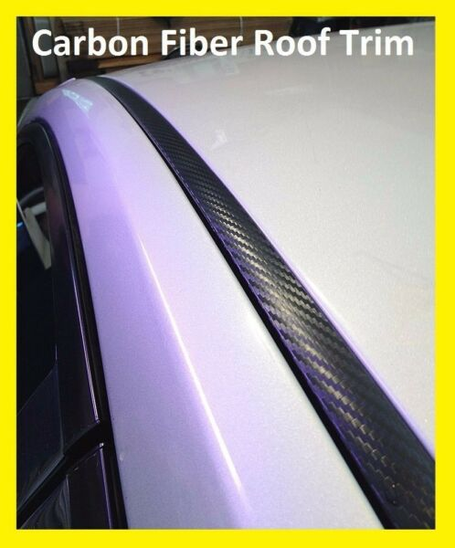 For 2005 2014 FORD MUSTANG BLACK CARBON FIBER ROOF TOP TRIM MOLDING KIT