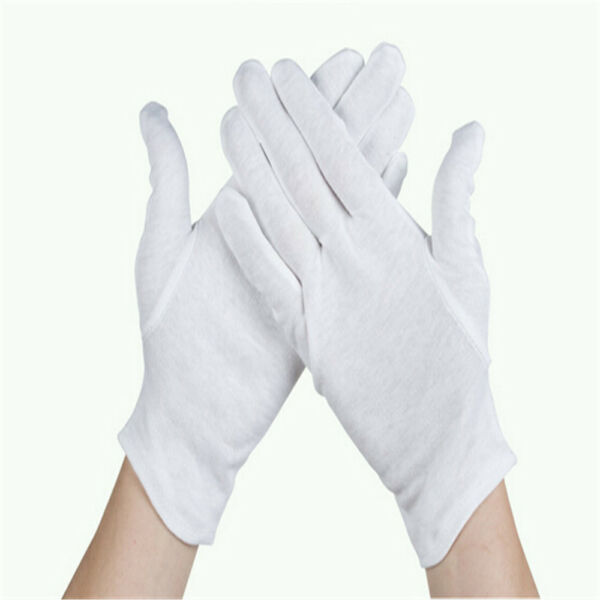4/6/8/12 Pair WHITE WORK JEWELLERY HANDLING COSTUME COTTON SOFT THIN GLOVES US