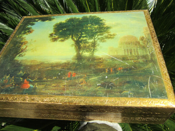 XL Antique Italian Gilt Wood w scenic old Italian master picture Documents BOX