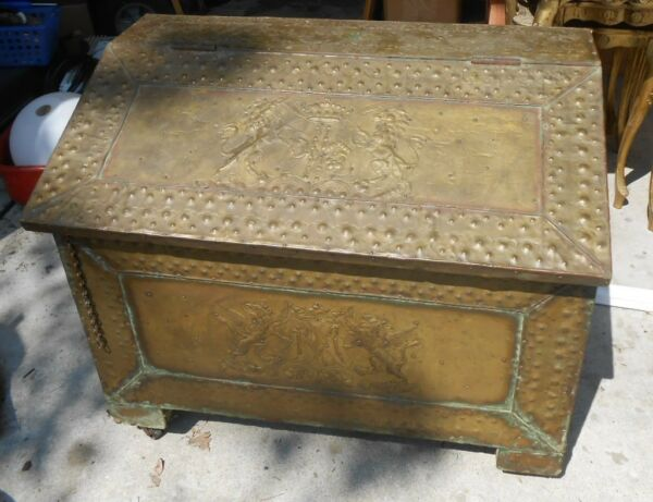 antique brass covered wood box lions and unicorns in stamped design