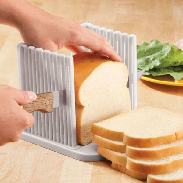 Bread Loaf Slicer Guide Kitchen Fold-able Adjustable Slicing Cutter Toast Tool