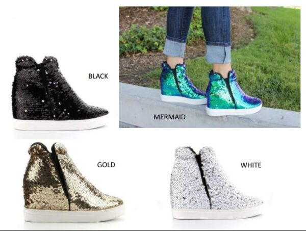 Womens Fashion Sneaker Ankle Booties Sequin High Top Hidden Wedge Platform Heel