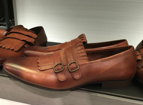 ZARA NATURAL-COLOURED LOAFERS WITH BUCKLES AND FRINGING EU 44US 11 REF.5103102