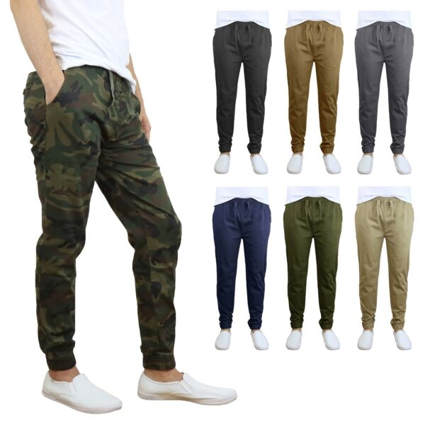 Mens Twill Stretch Jogger and Cargo Pocket Pants Chinos Work Lounge Active NEW