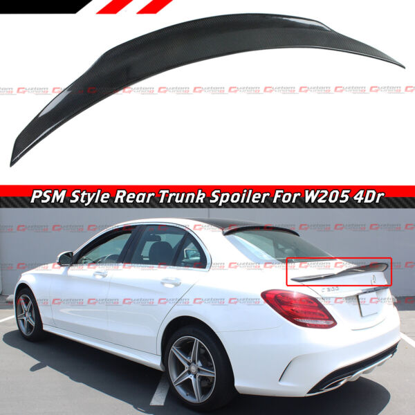 FOR 2015-18 MERCEDES BENZ W205 C-CLASS PS STYLE CARBON FIBER TRUNK SPOILER WING
