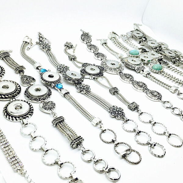 wholesale silver women vintage ginger 12MM18MM Snaps Jewelry Charms Bracelets