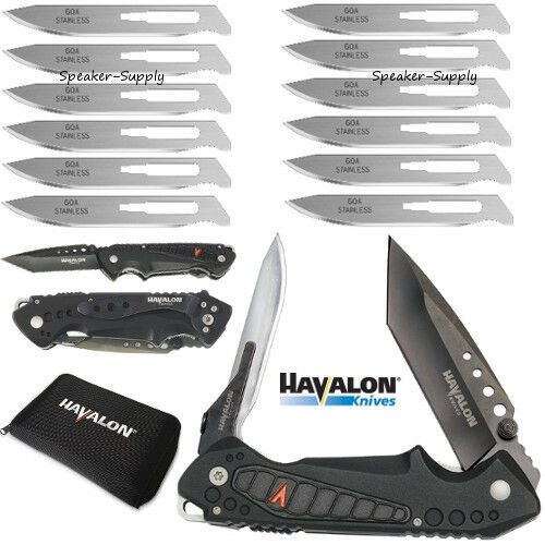 Havalon Knives EXP Pocket Folding Knife + 12 Piranta 60A Extra Blades + Holster