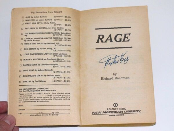 Stephen King Signed RAGE Book Richard Bachman First Edition 1977 Paperback wCOA