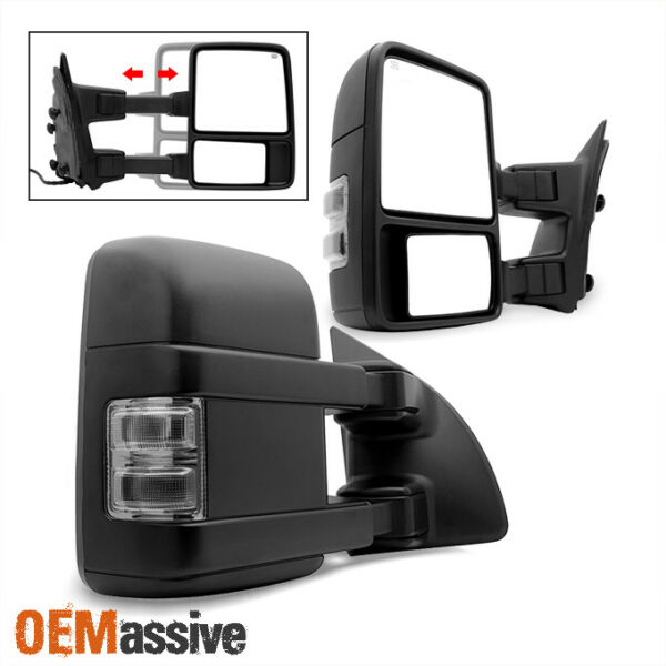 Fit 99-07 Ford F250 F350 F450 Smoked Power Heated LED Signal Towing Side Mirrors