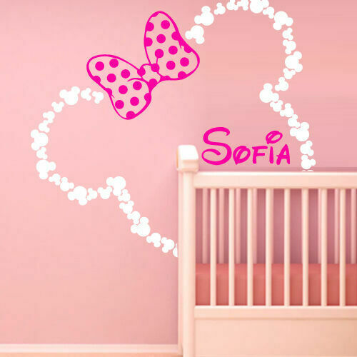 46x42#x27; Mickey Mouse Ears Minnie with Bow Baby Name Wall Decal Custom Bed M1605 $28.99