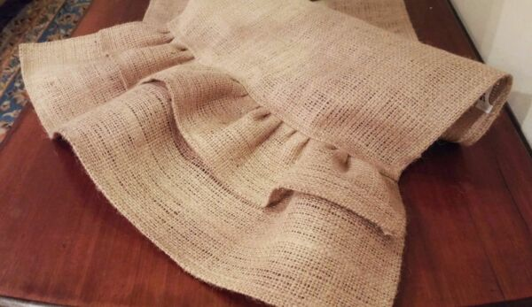 Natural Burlap Table Runner with Double Burlap Ruffles Various Sizes