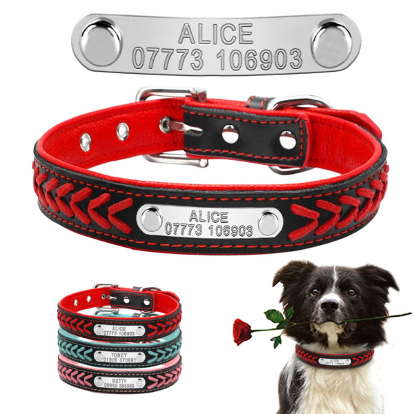 Braided Custom Personalized Dog Collars Leather Padded Dog Pet ID Name Collar $9.49