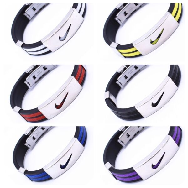 Nike Sport Baller Band Silicone Rubber Bracelet Wristband Cuff Bangle Metal