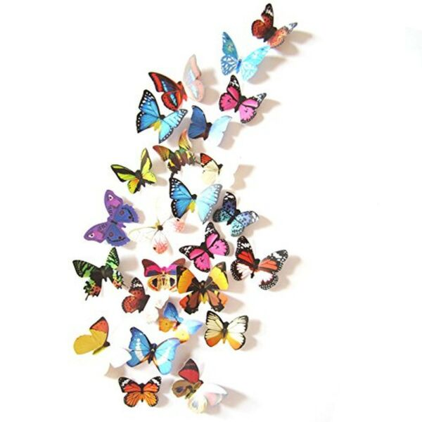 Amaonm 19 Pcs Removable Diy Pvc 3d Colorful Butterfly Wall Sticker Murals Wal... $8.62
