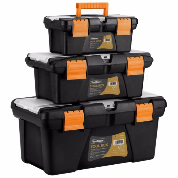 VonHaus 3 pc Plastic Stackable Trolley Tool Box Chest Organizer Cabinet Garage