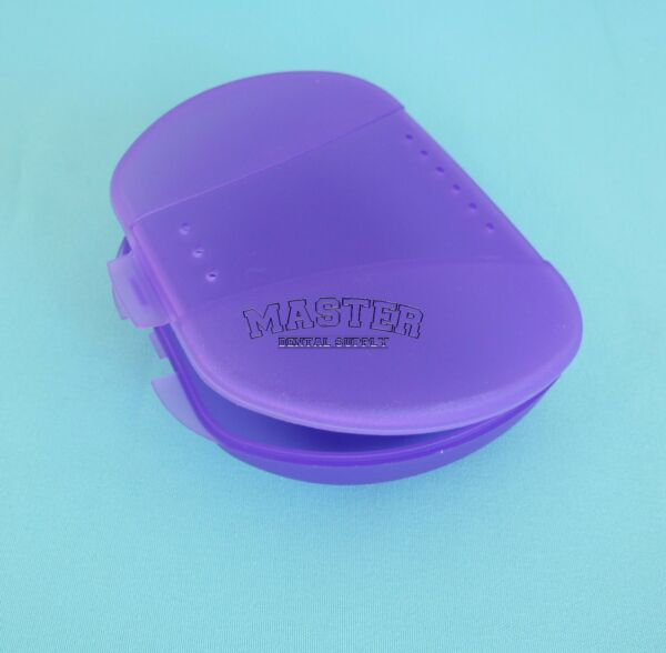 1 Orthodontic Appliance Retainer Case PURPLE Plastic Box with Breathing Holes
