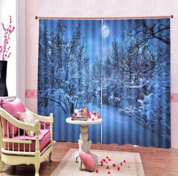 Snow Pressure Branches 3D Curtain Blockout Photo Print Curtains Fabric Window