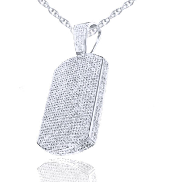 Mens 14K Gold Look Diamond Silver Icy Dog Tag Pendant Flower Necklace Set