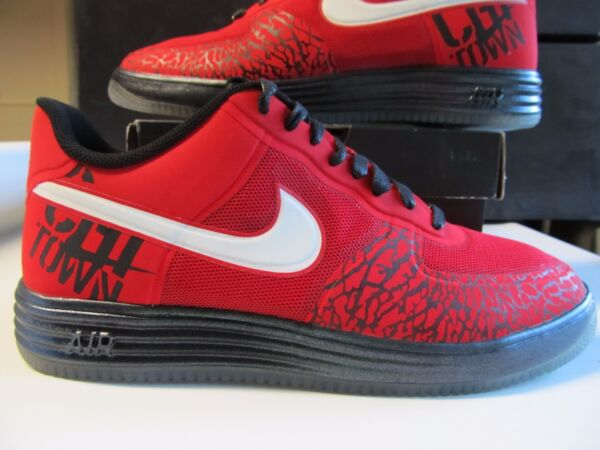 Nike Lunar Air Force 1 One Fuse City CHICAGO Red Black Ice Icy Cement 577666 600
