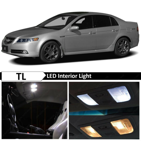 15x White Interior + License Plate LED Lights Package Kit for 2004-2008 Acura TL