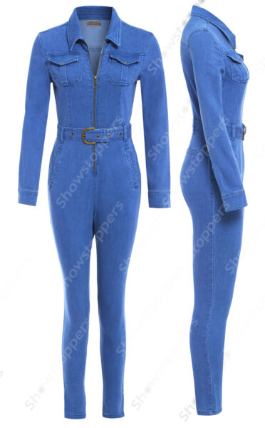 NEW Womens Denim Boiler Suit Ladies Jumpsuit Blue Size 8 10 12 14 Boilersuit