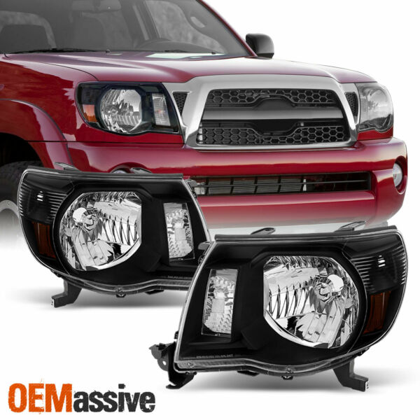 Fits 2005-2011 Toyota Tacoma Black Headlights Lamps Replacement 06 07 08 09 10
