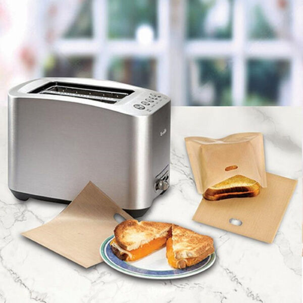 2x/set Sandwich Toaster Toast Bags Non-Stick Reusable Safety Heat Resistant Tool