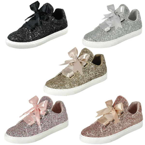 New Women Glitter Ribbon Bow Lace Up Gym Fitness Trainer Fashion Sneaker Booties
