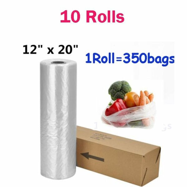 10 Rolls of 350 12 x 20 Plastic Produce Bags On a Roll Kitchen Fruits Vegetables