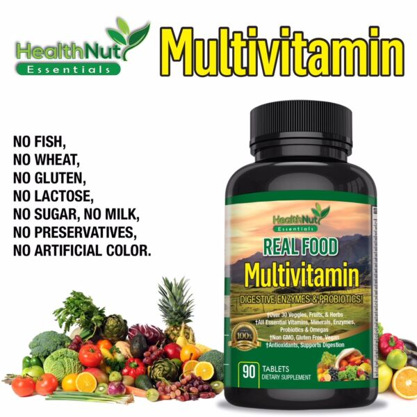 Whole Food Vegan Multivitamin Superfood Supplement for Men Women Non-GMO Vitamin