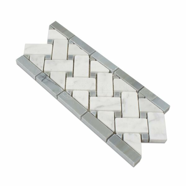 Carrara White Italian (Bianco Carrara) Marble Basketweave Border Mosaic Tile