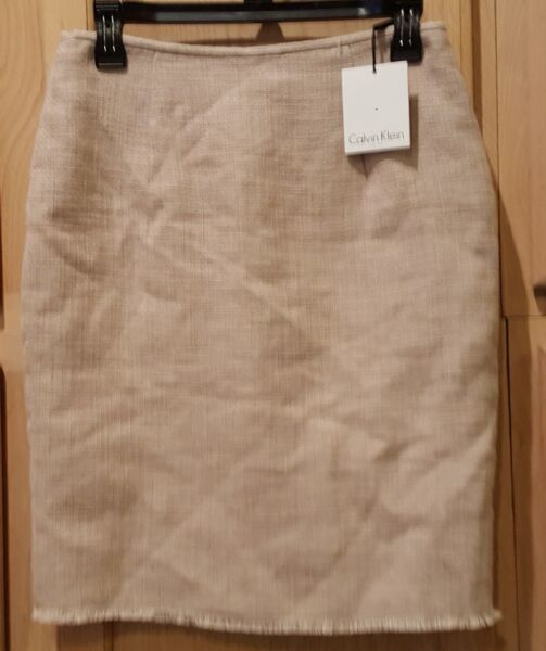 Calvin Klein Khaki Burlap Textured Raw Edge Pencil Skirt 2R MSRP $79