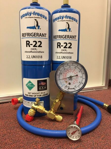 R22 Refrigerant R-22, Air Conditioner, (2) 28 oz Cans, LARGE, Recharge Kit
