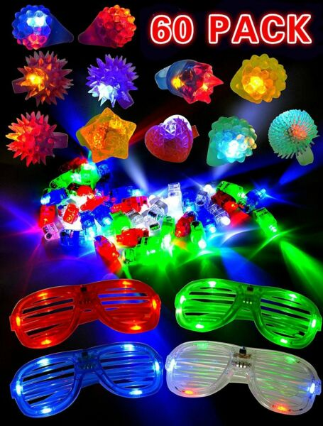 60 Pieces LED Light Up Toy Party Favor Pack - Finger Lights,Rings