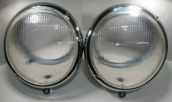 PAIR 1950-1967 VW BUG BUS HEADLIGHT ASSEMBLY  BUCKET W FLUTED LENS SET OF 2