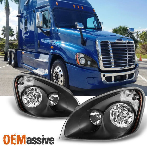 Fit Black 2008-2016 Freightliner Cascadia Halogen Type Left + Right Headlights