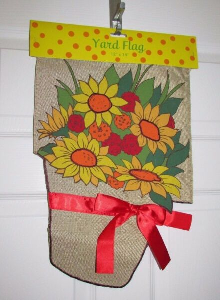 Pot of Sunflowers and Mums Red Ribbon Burlap Small Garden Flag 12quot; X 18quot;