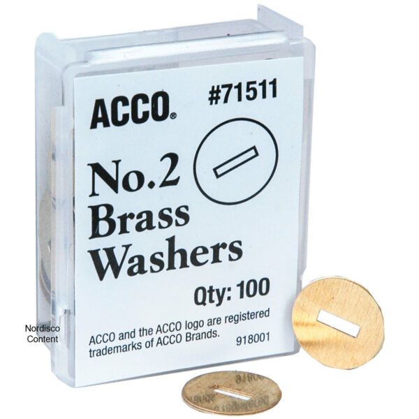 ACCO 71511 No.2 Brass Washers 1 2quot; Diameter Pack of 100
