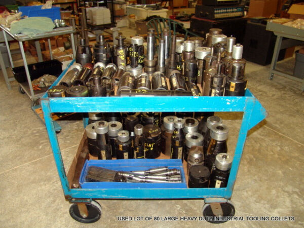 USED LOT OF 80 LARGE HEAVY DUTY INDUSTRIAL TOOLING COLLETS AEROSPACE SURPLUS