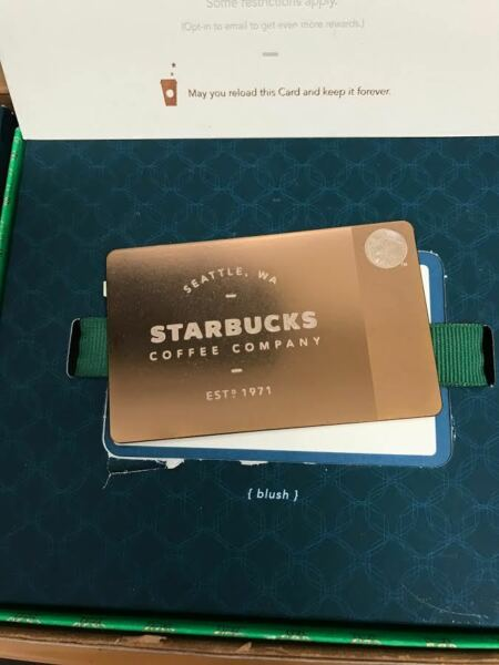 LIMITED EDITION RARE COLLECTORS ITEM 2013 METAL STARBUCKS CARD - ROSE GOLD