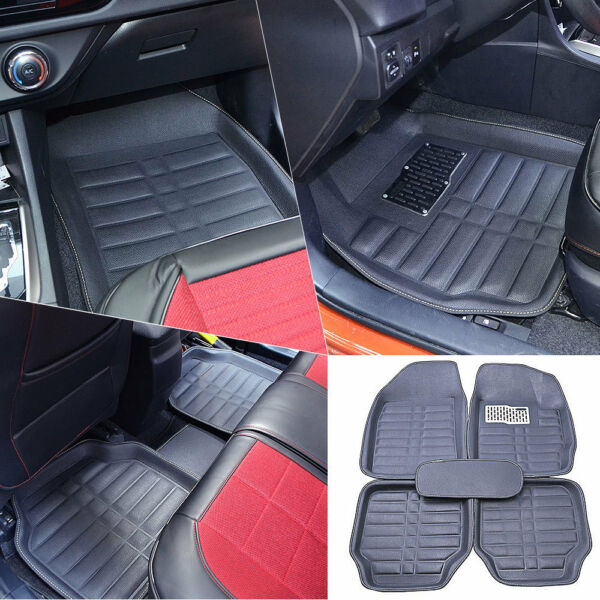 US Black 5pc Floor Mats All-Weather Universal 5 Seats Car FloorLiner Carpets Set