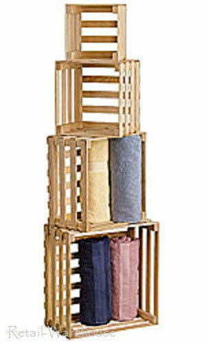 Floor Display 4 Nesting Crates Wood Pine Stacking Retail Merchandise Shelf