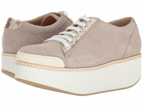 Shellys London Kirk Grey Suede Rose Gold Platform Lace Up Wedge Oxford Sneaker