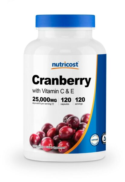 Nutricost Cranberry Extract 25000mg 120 Capsules With Vitamin C amp; Vitamin E