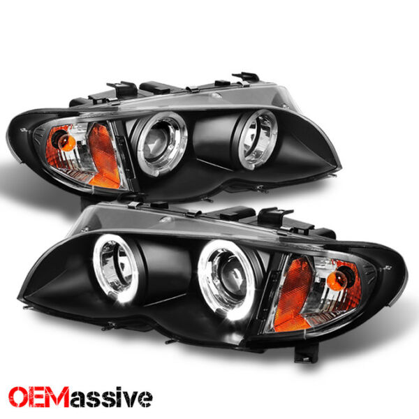 For 02-05 BMW E46 3-Series 4Dr Black Halo LED Projector Headlights +Build/Corner